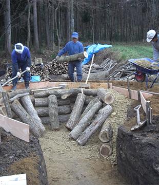 炭窯作り 岩手県野田村 Japan